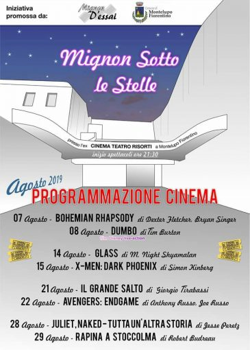 Cinema sotto le stelle programmazione agosto